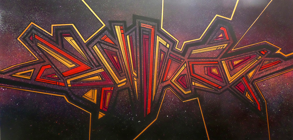 Abstract geometric grafitti space painting & prints
