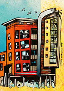 Abstract Buildings Paintings and Prints.