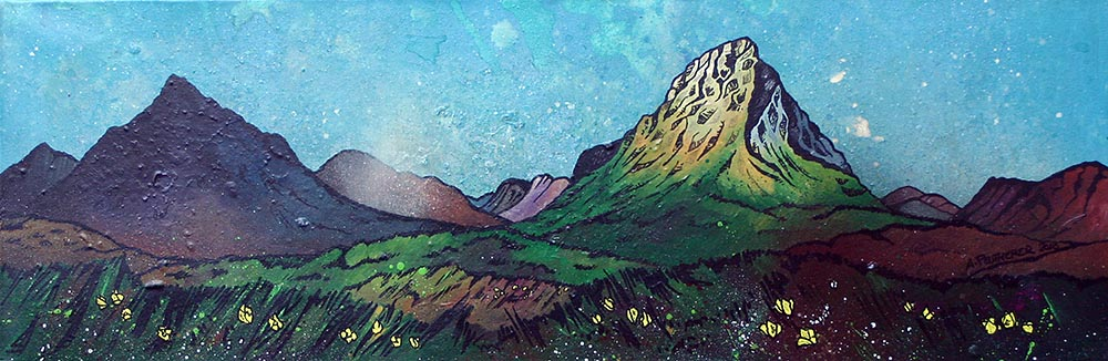 Glencoe, Glen Etive and Buachaille etive mor, scotland. Painting and prints.
