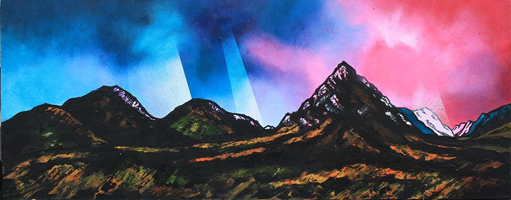 Rannoch moor, glencoe, glen etive and buachaille mor painting and prints