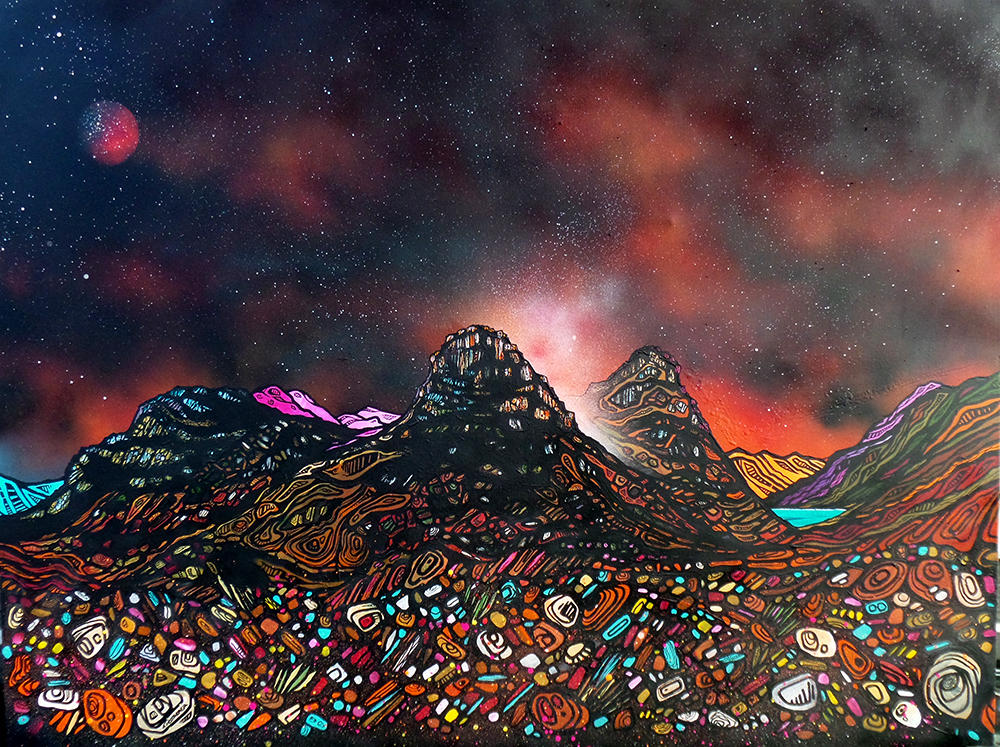 Painting and prints of the three sisters of Glencoe, Scotland
