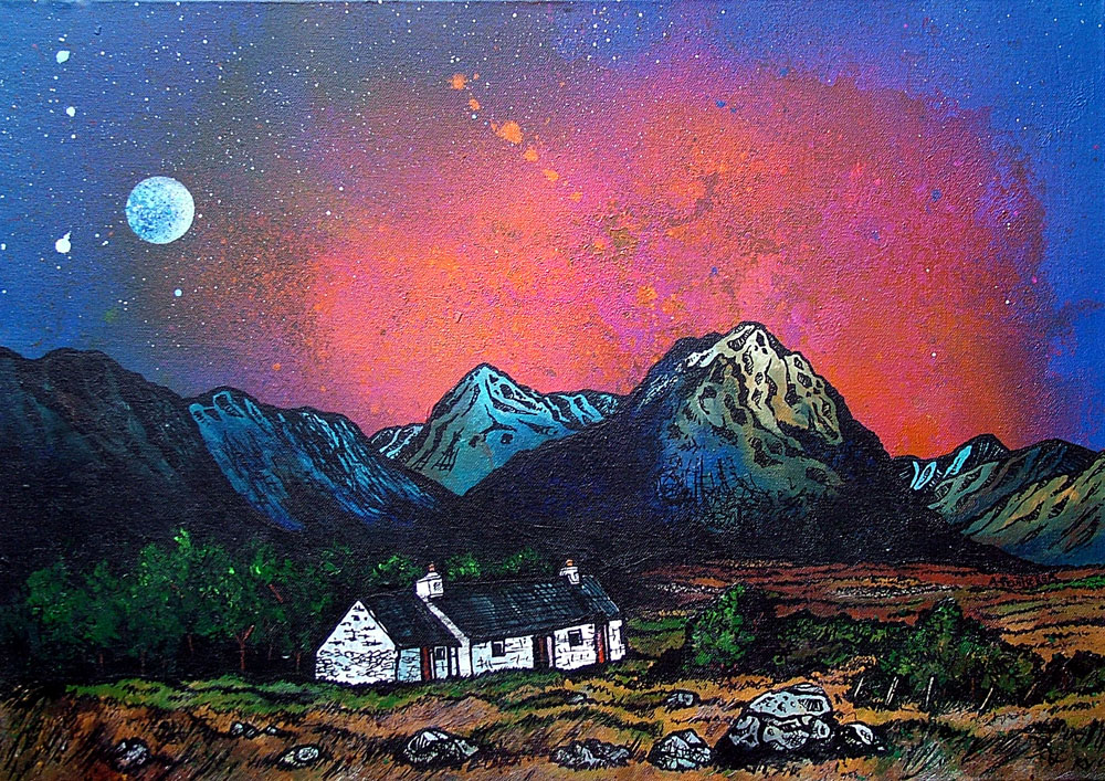 Contemporary Scottish landscape painting of  The Black Rock Cottage and The Buachaille, Glencoe, Scottish Western Highlands.