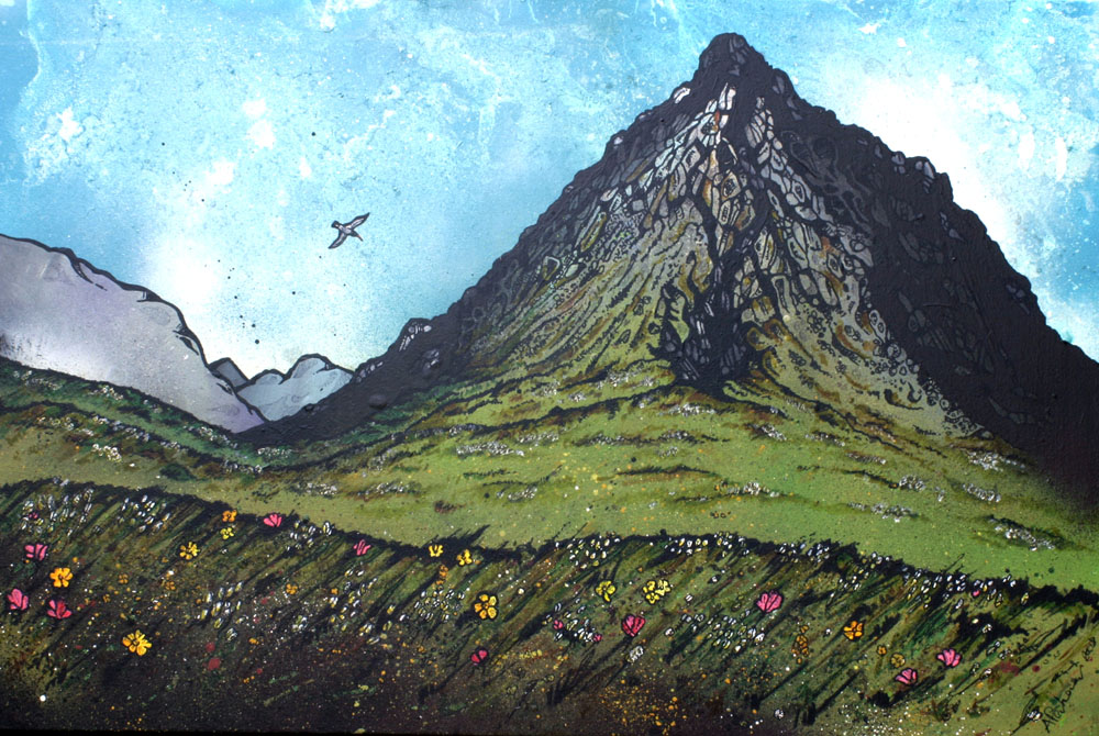 Painting of GlenCoe, Scottish highlands.