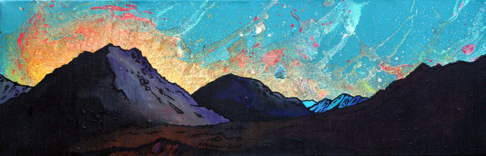 Painting and prints of a Glen Etive Sunset, Scottish Highlands.