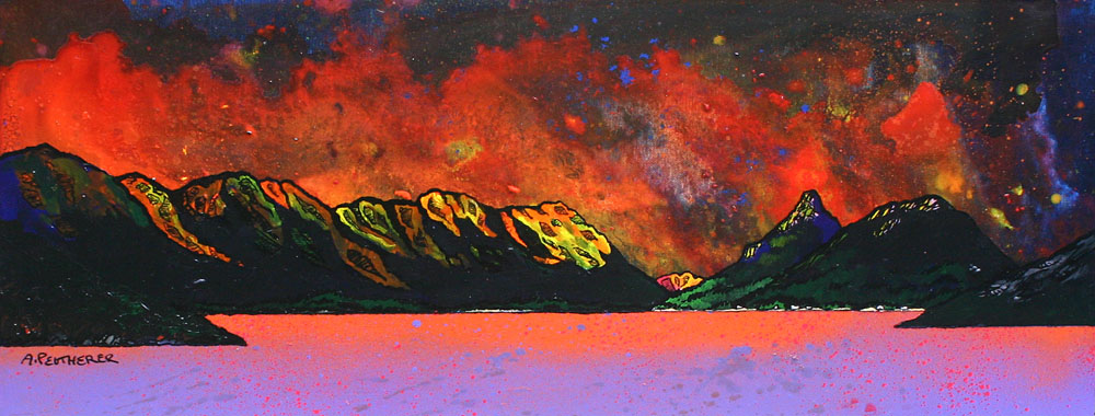 Contemporary Scottish landscape painting of Pap of Glen Coe Winter Sunset over Loch Leven, Argyll, Scotland.