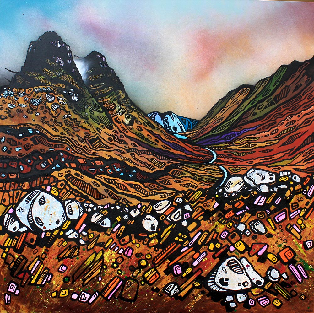 Glencoe and three sisters painting and prints, scotland