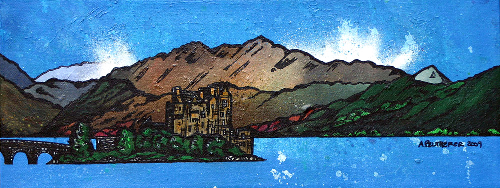 Scottish Painting and prints of  Eilean Donan Castle, West Highlands, Scotland.
