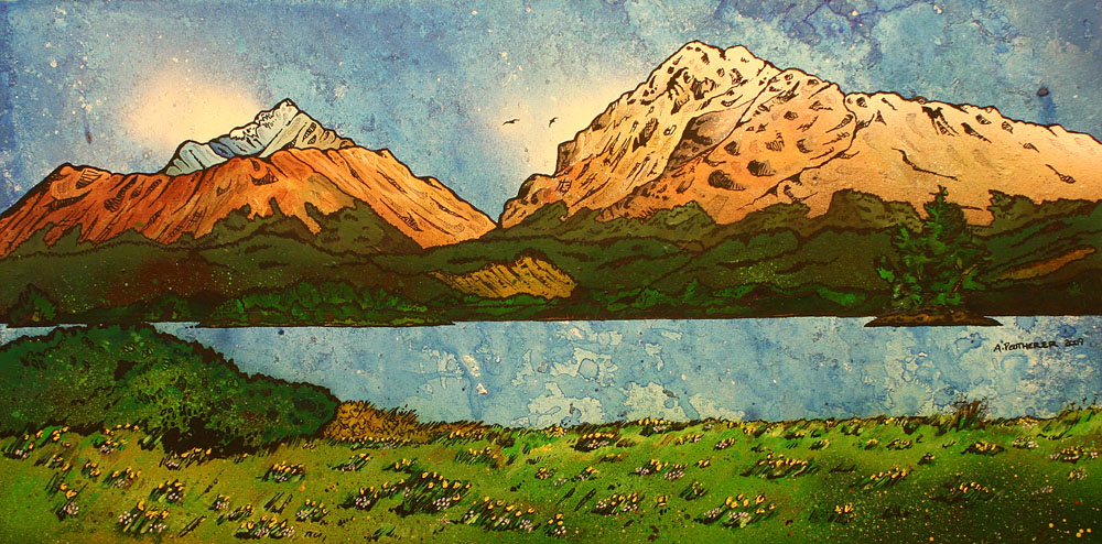 Scottish Painting and prints o fLoch Awe, Ardanaiseig Hotel, Kilchrenan by Taynuilt Scottish highlands