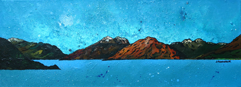 landscape painting of Garbh Bheinn across the Loch Linnhe Sunset, Argylle, Scottish Highlands.