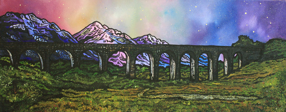 GlenFinnan Viaduct, Scotland. Painting and prints.