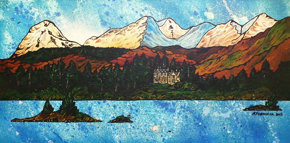 Scottish Painting and prints of The Ardanaiseig Hotel from loch Awe, Scottish Highlands.