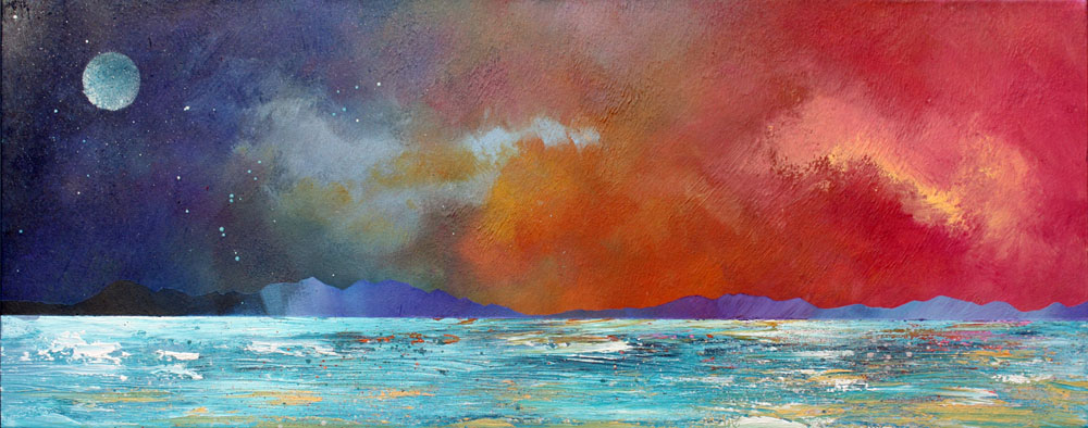 Scottish landscape painting and prints of Isle of  Mull Sunset From Ganavan, near Oban, Scotland.