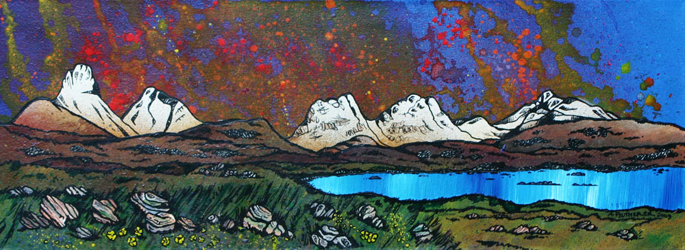 "Scottish Painting and prints of  Assynt Panorama, Stac Pollaidh (""peak of the peat moss""), Cul Beag, Sgorr Tuath, Beinn An Eoin and Ben Mor Coigach. Scottish Western Highlands."