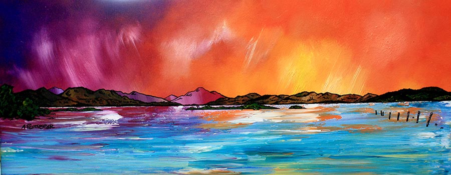 scottish contemporary landscape paintings by scottisg Glasgow based artist andy peutherer, stunning mountain, sea and sky scapes of The Scottish Western Isles, Scottish Highlands and the Inner and Outer Hebridean Islands such as The Isle of Arran, The isle of Islay, Isle of Jura, The Isle of Skye, North and South Uist, Lewis and Harris.
