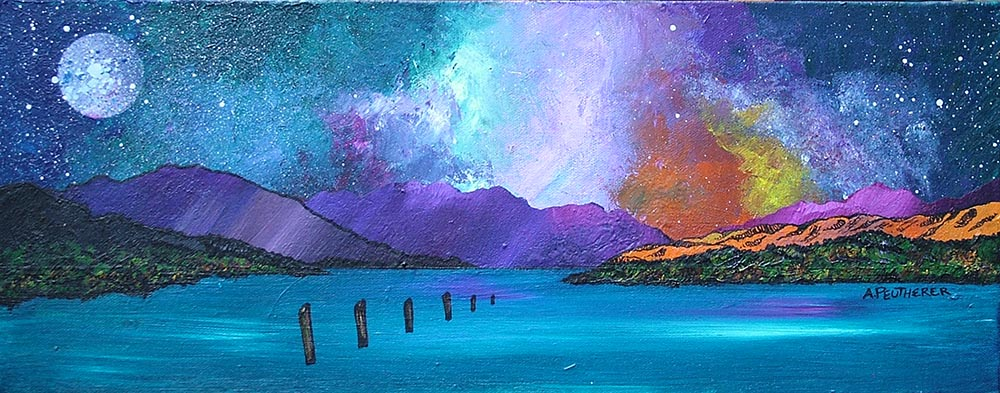 Contemporary Scottish landscape painting of Loch Lomond Sunset From Luss, Scottish Highlands.