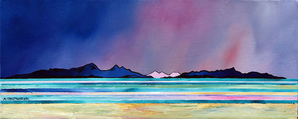 Scottish painting and prints of Rum and Eigg From West Coast Beach, Scotland.