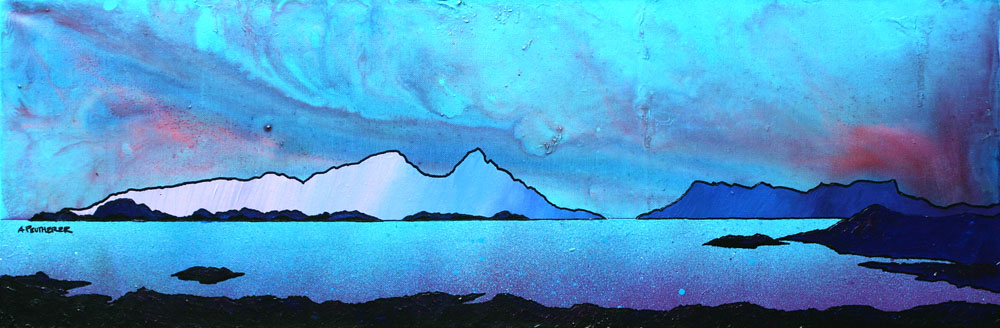 Scottish painting and prints of Rum and Eigg from Sanna Bay, Hebrides, Scotland