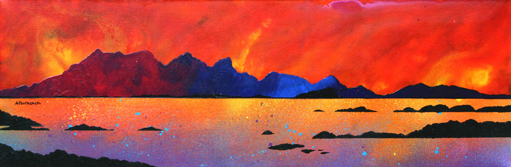 Scottish painting and prints of The Isle of Rum Winter Sunset, Hebrides, Scotland