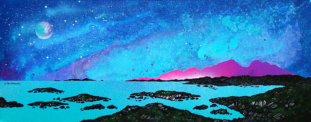 Scottish painting and prints of Rum And Sanna Bay, Ardnamurchan Peninsula, Scotland.