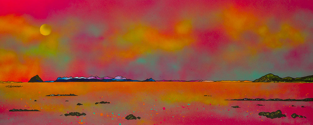 Arran & Ailsa Craig from Ballantrae, Ayrshire, a painting and prints