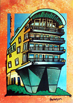 Contemporary abstract painting of  Cruden's Paragon Development in The New Gorbals, Glasgow (commission for Cruden Group)