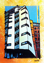 Contemporary abstract painting of  Cruden's Verde Development on Glasgow Green (commission for Cruden Group)