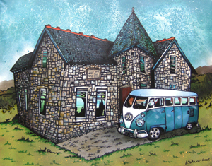 commissioned canvas painting of a clients house with his Volkswagen Camper Van outside.