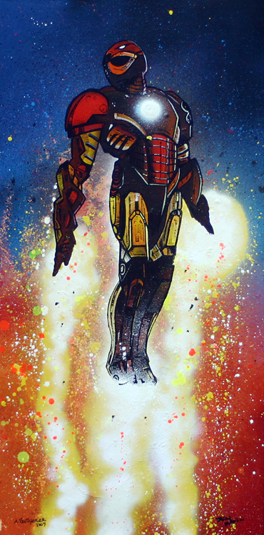Contemporary mixed media painting of Iron Man