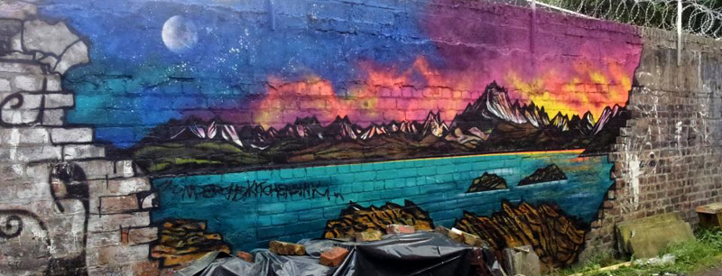 Graffiti mural of the Cuillin from Elgol, Isle of Skye, Scotland. Spraypaint.