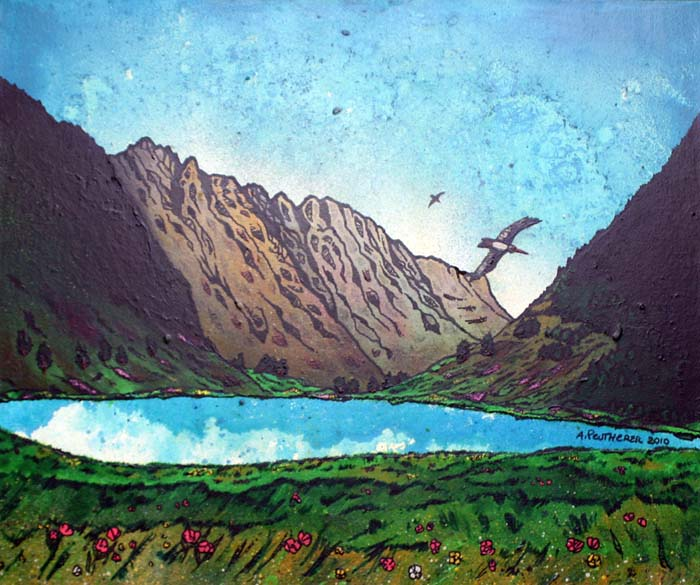 Contemporary Scottish landscape painting of The Aonach Eagach Ridge, Glen Coe, Scotland.