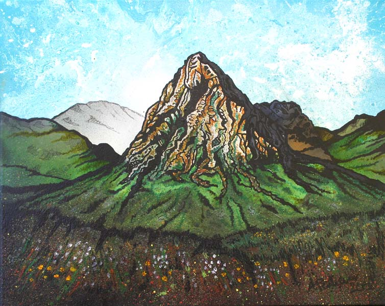 Contemporary Scottish landscape painting of Buachaille Etive Mor, Glen Etive, Scottish Highlands