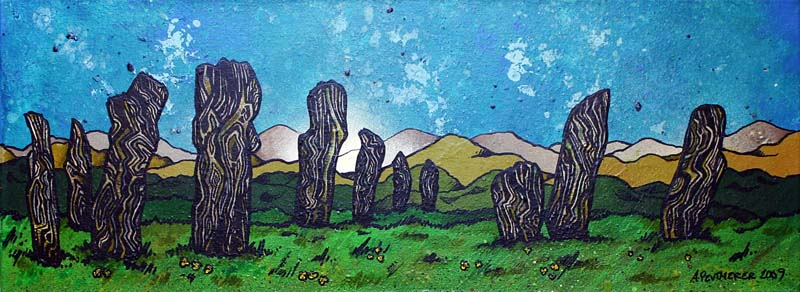 Commissioned Contemporary Scottish landscape painting of  The Callanish Standing Stones , The Isle of Lewis, Scottish Outer Hebrides, Scotland