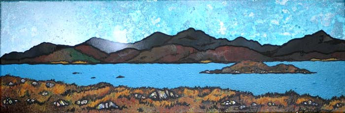 Contemporary Scottish landscape painting of East Bee Loch, South Uist.