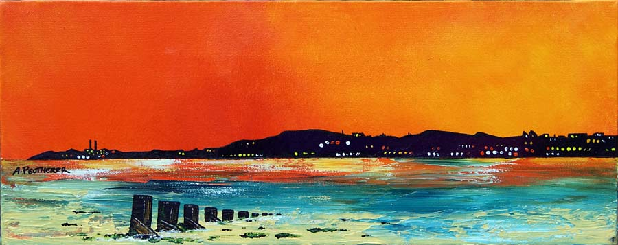 Contemporary Scottish landscape painting of Edinburgh Castle red sunset, Scotland