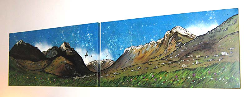 Contemporary Scottish landscape painting of Glen Coe commissioned double canvas, Scottish Western Highlands