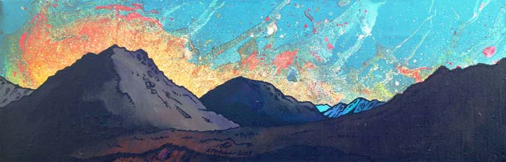 Contemporary Scottish landscape painting of Cuillin Sun Set, Cuillin mountains, Isle Of Skye, Scotland.