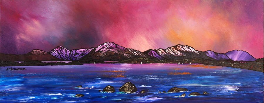 Commissioned mixed media fine art painting of Loch Lomond Dusk From Near Balmaha, Highlands, Scotland.