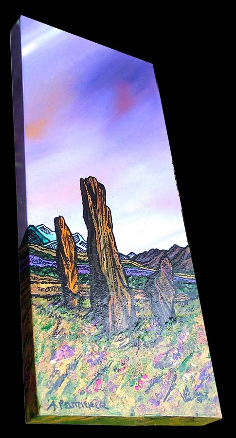 Contemporary Scottish landscape painting of The Machrie Moor Standing Stones, Early Spring, Isle of Arran.