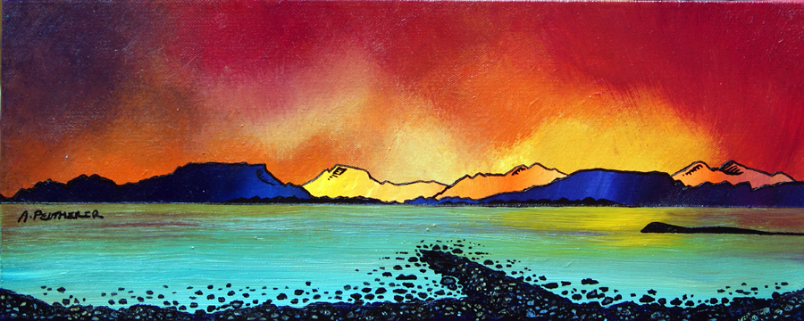 Contemporary Scottish landscape painting of Oban Bay Sunset, Scotland.