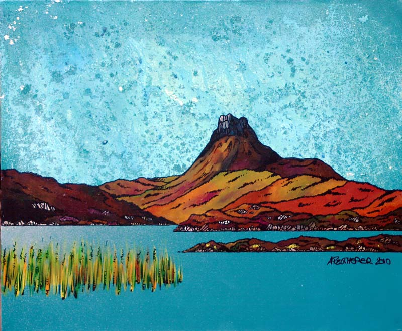 Contemporary Scottish landscape painting of Stac Pollaidh across the Loch, Torridon, Scottish HighlandsStac Pollaidh across the Loch, Torridon, Scottish Highlands