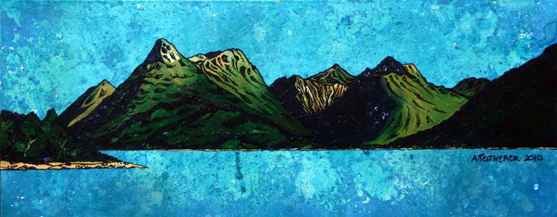Contemporary Scottish landscape painting of The Pap of Glen Coe and Bidean nam Bian, Argylle, Scotland.