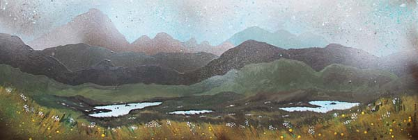 Abstract scottish landscape, mixed media painting.  Near Airdhbruach, Isle Of Lewis