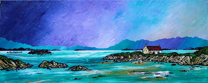 Contemporary Scottish landscape painting of Barra Winter Croft, Isle Of Barra, Scottish Western Isles