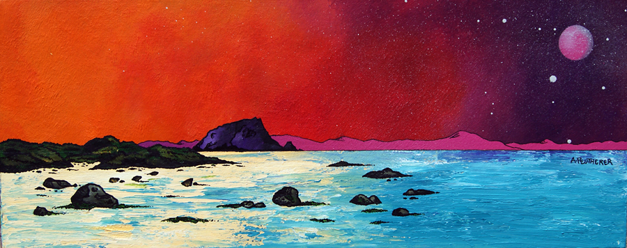 Contemporary Scottish Landscape painting of Pink Moon Over The Bass Rock, Berwick, Scottish East Coast.