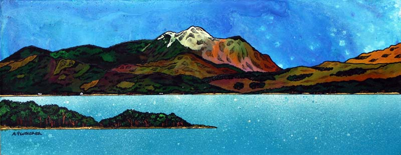 Contemporary Scottish landscape painting of Contemporary Scottish landscape painting of Ben Nevis Across Loch Linnhe, Scottish Highlands.