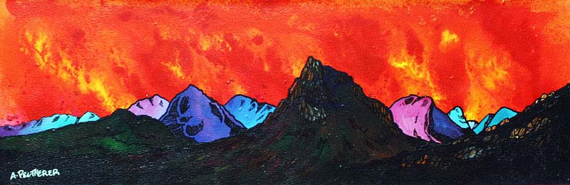 Contemporary Scottish landscape painting of Buachaille Red Sunset, Rannoch Mor, Coe and Glen Etive, Scotland.