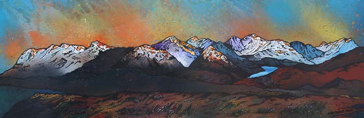 Contemporary Scottish Landscape painting of the view from Beinn Dearg Monaliath, Scottish highlands.