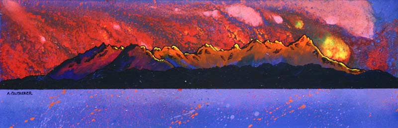 Contemporary Scottish landscape painting of  The Black Cuillin Sunset, The Isle of Skye, Scottish Inner Hebrides, Scotland