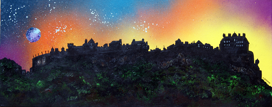 Contemporary Scottish landscape painting of Edinburgh Castle Dusk 2, Edinburgh, Scotland.