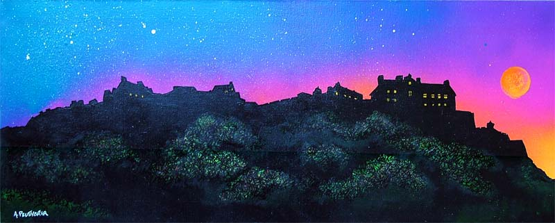 Contemporary Scottish Landscape painting of Edinburgh Castle Sunrise, Scotland